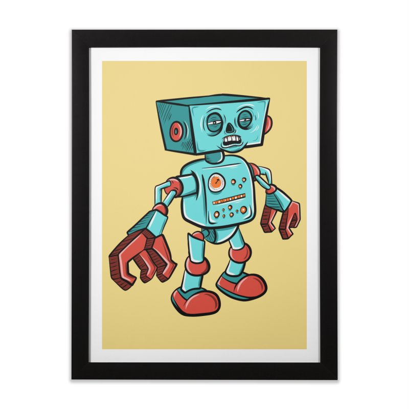 62d9d9 - Astro the Android Home Framed Fine Art Print by Pat Higgins Illustration