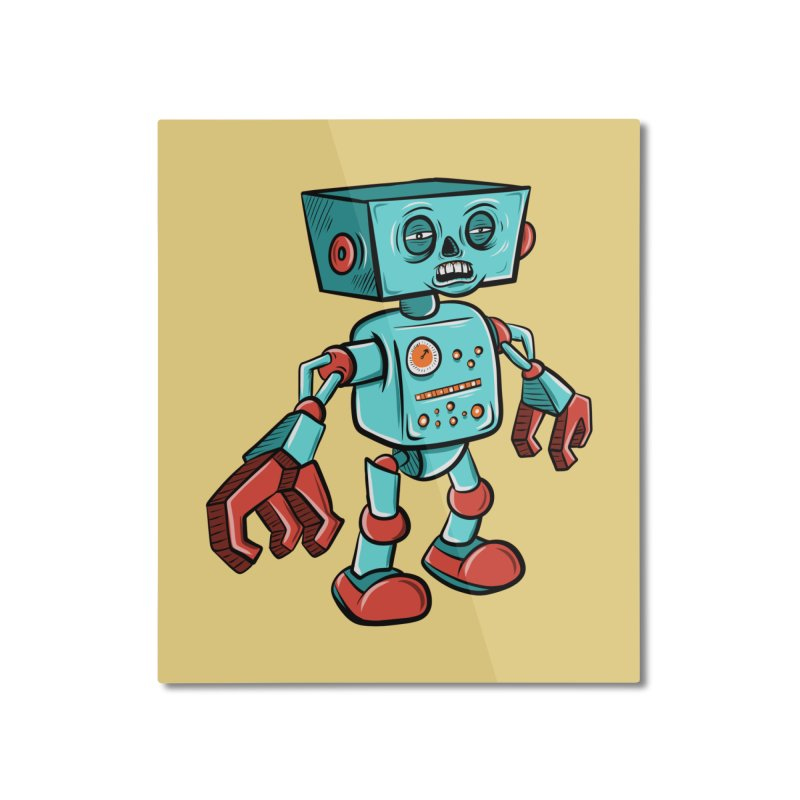 62d9d9 - Astro the Android Home Mounted Aluminum Print by Pat Higgins Illustration
