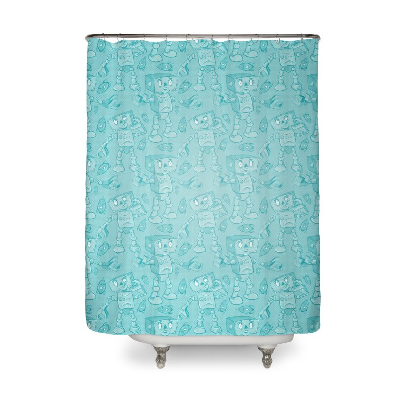 Robots and Rockets - Pattern 1 Home Shower Curtain by Pat Higgins Illustration