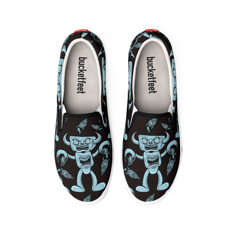 The Angry Android, Black and Cyan Women's Shoes by Pat Higgins Illustration