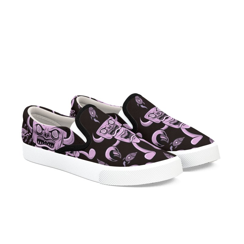 The Angry Android, Magenta and Black Women's Slip-On Shoes by Pat Higgins