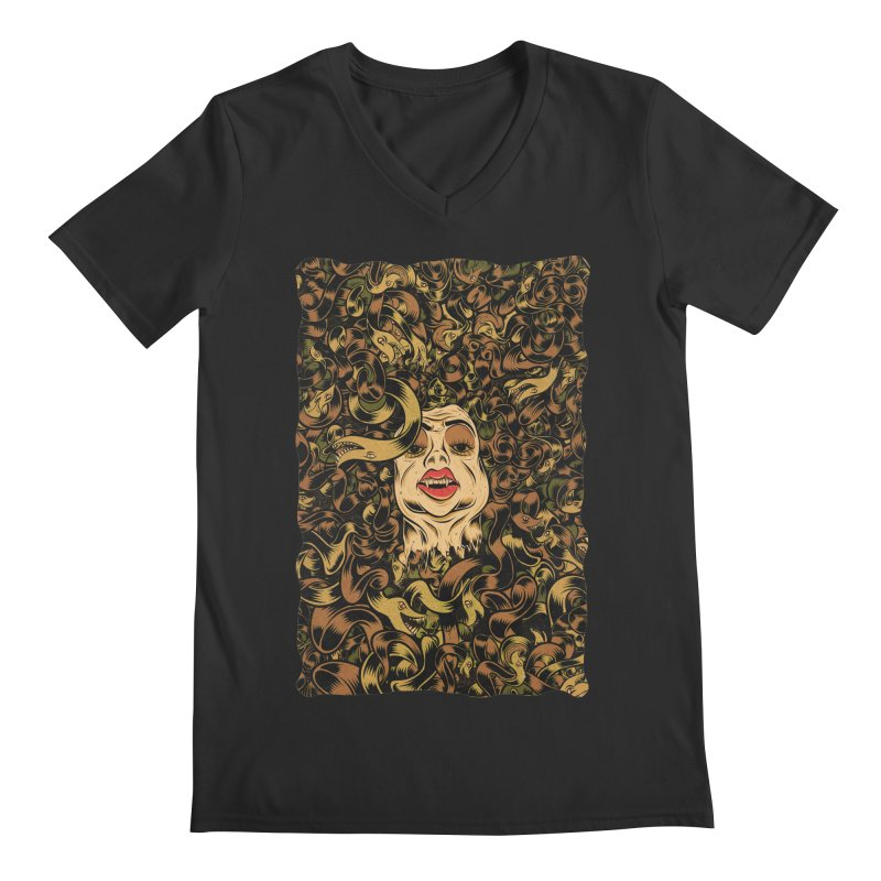 Medusa Men's Regular V-Neck by Pat Higgins Illustration