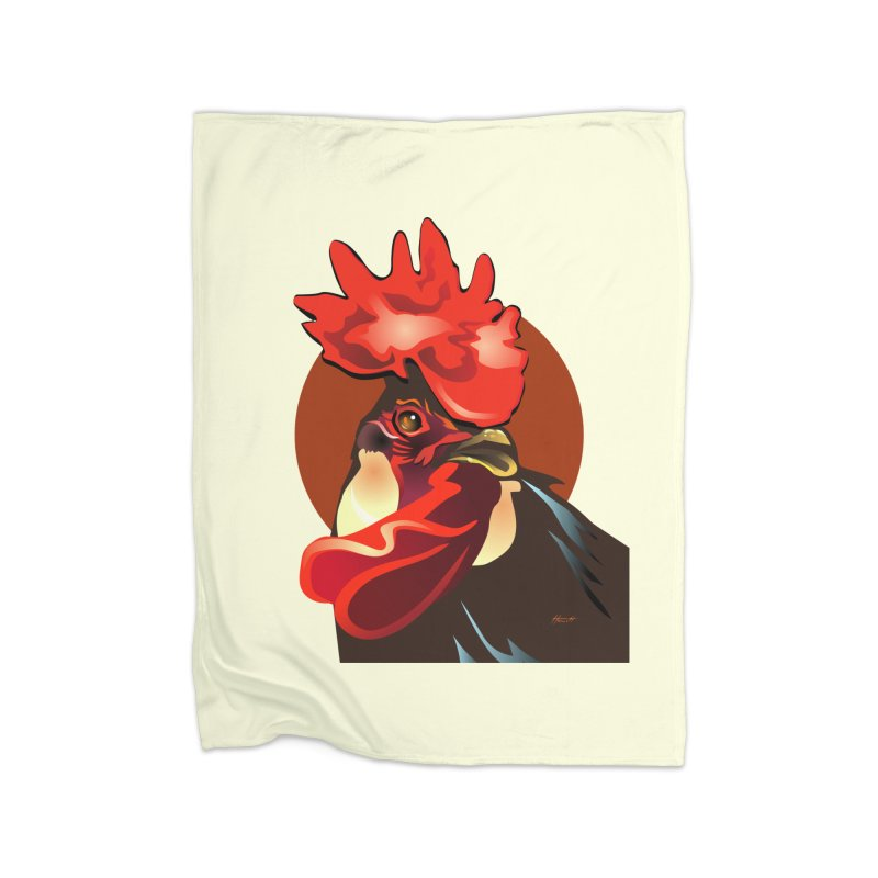 Andalusian Rooster 2 Home Fleece Blanket Blanket by Patricia Howitt's Artist Shop