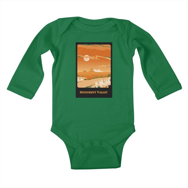 Monument Moon Kids Baby Longsleeve Bodysuit by Patricia Howitt's Artist Shop