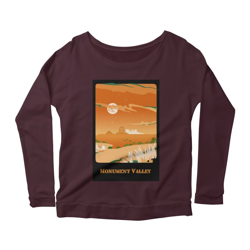 Monument Moon Women's Scoop Neck Longsleeve T-Shirt by Patricia Howitt's Artist Shop