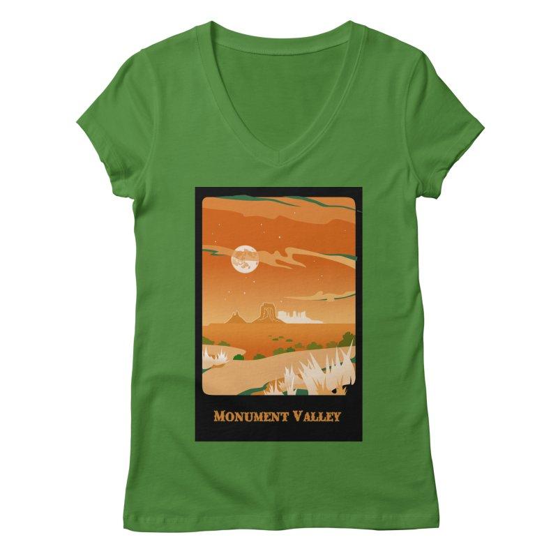 Monument Moon Women's Regular V-Neck by Patricia Howitt's Artist Shop