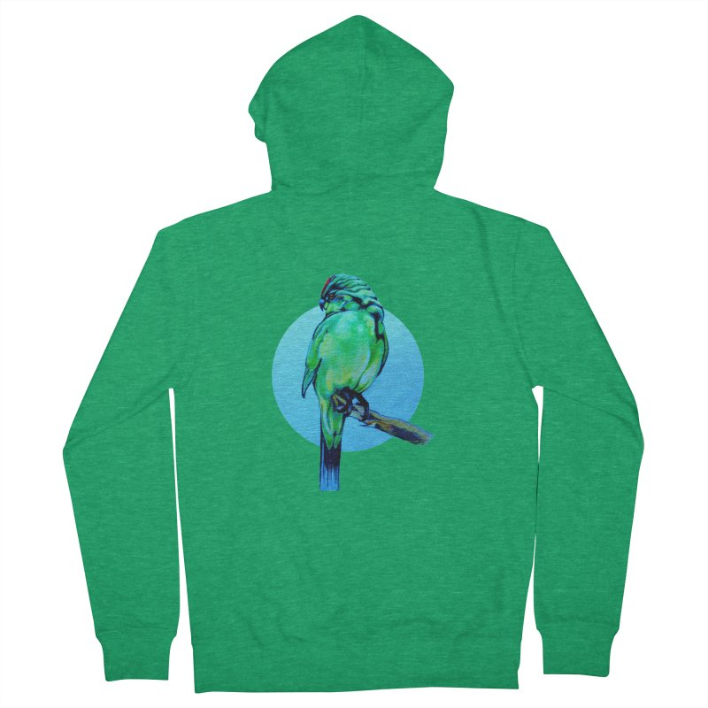 Parakeet - NZ Kakariki Women's French Terry Zip-Up Hoody by Patricia Howitt's Artist Shop