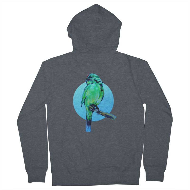 Parakeet - NZ Kakariki Men's French Terry Zip-Up Hoody by Patricia Howitt's Artist Shop