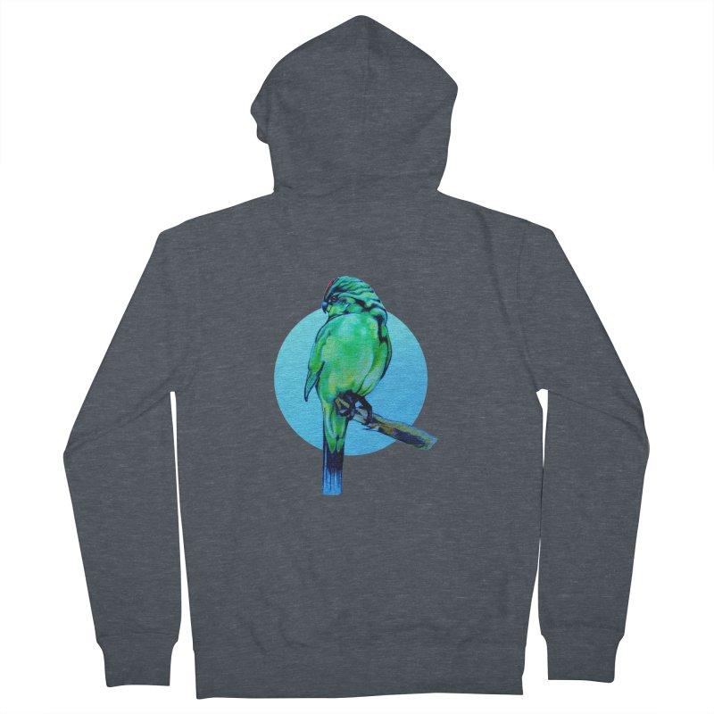 Parakeet - NZ Kakariki Men's Zip-Up Hoody by Patricia Howitt's Artist Shop