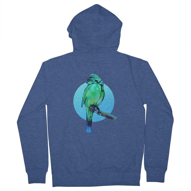 Parakeet - NZ Kakariki Men's French Terry Zip-Up Hoody by Patricia Howitt's Artist Shop