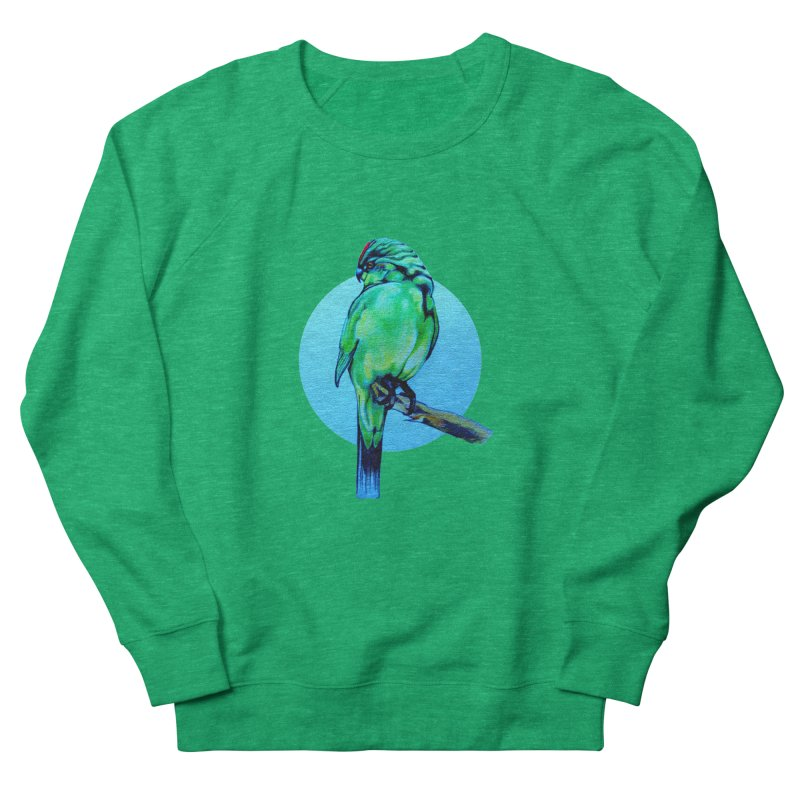 Parakeet - NZ Kakariki Women's French Terry Sweatshirt by Patricia Howitt's Artist Shop