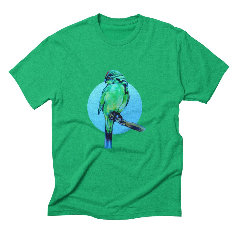Parakeet - NZ Kakariki Men's Triblend T-Shirt by Patricia Howitt's Artist Shop