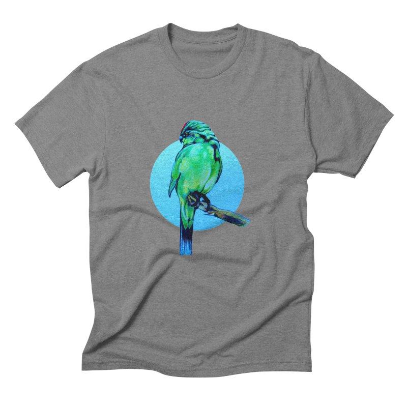 Parakeet - NZ Kakariki Men's Triblend T-Shirt by Patricia Howitt's Artist Shop