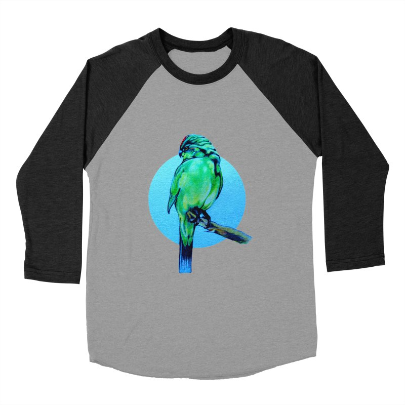 Parakeet - NZ Kakariki Men's Baseball Triblend Longsleeve T-Shirt by Patricia Howitt's Artist Shop