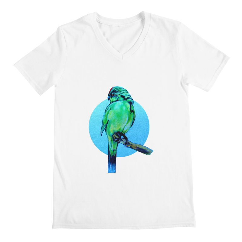 Parakeet - NZ Kakariki Men's V-Neck by Patricia Howitt's Artist Shop