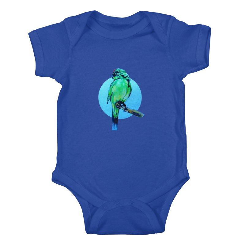Parakeet - NZ Kakariki Kids Baby Bodysuit by Patricia Howitt's Artist Shop