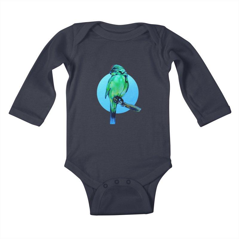 Parakeet - NZ Kakariki Kids Baby Longsleeve Bodysuit by Patricia Howitt's Artist Shop