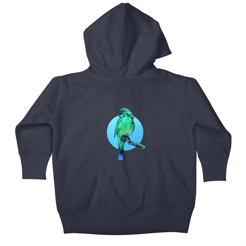 Parakeet - NZ Kakariki Kids Baby Zip-Up Hoody by Patricia Howitt's Artist Shop