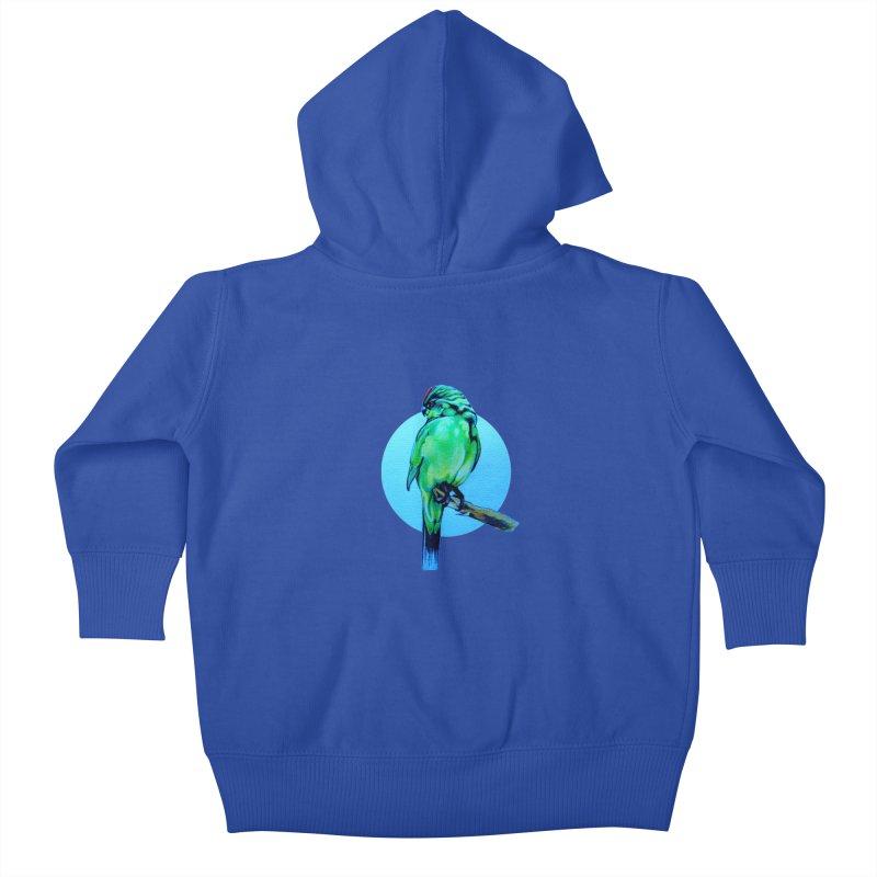 Parakeet - NZ Kakariki Kids Baby Zip-Up Hoody by Patricia Howitt's Artist Shop