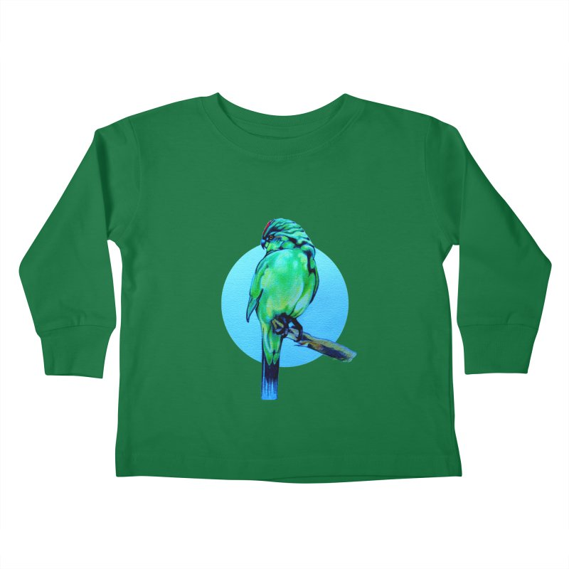 Parakeet - NZ Kakariki Kids Toddler Longsleeve T-Shirt by Patricia Howitt's Artist Shop