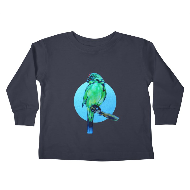 Parakeet - NZ Kakariki Kids Toddler Longsleeve T-Shirt by Patricia Howitt's Artist Shop