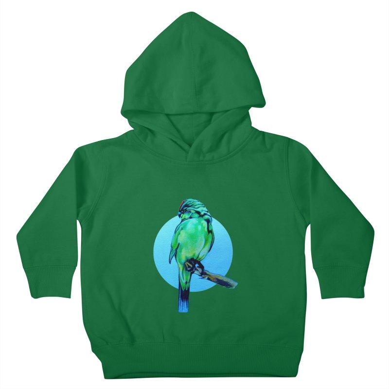 Parakeet - NZ Kakariki Kids Toddler Pullover Hoody by Patricia Howitt's Artist Shop
