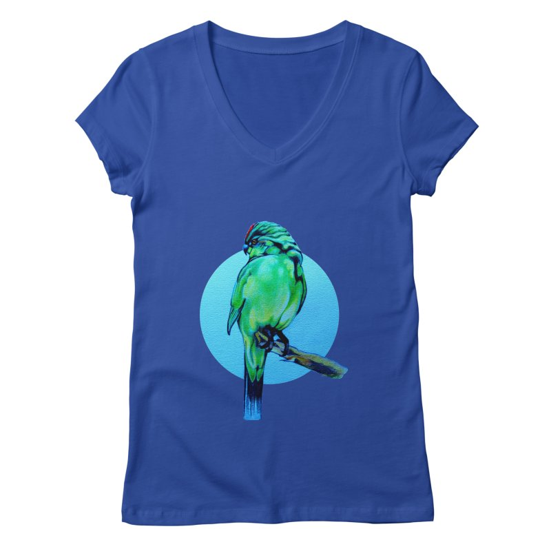 Parakeet - NZ Kakariki Women's V-Neck by Patricia Howitt's Artist Shop