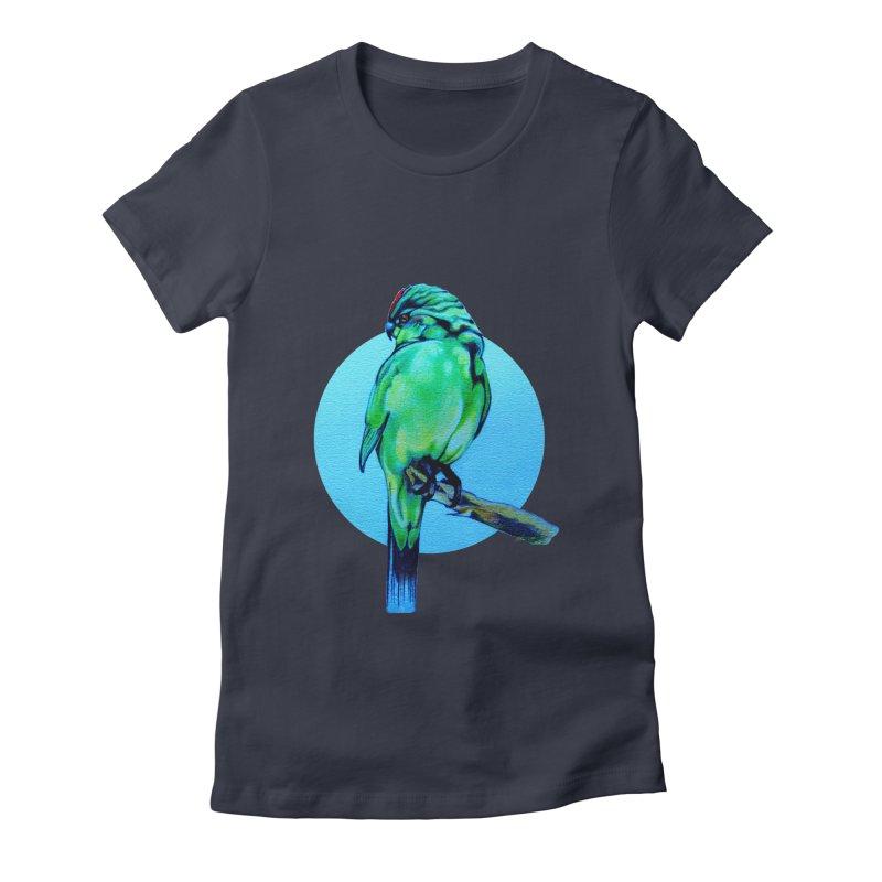 Parakeet - NZ Kakariki Women's Fitted T-Shirt by Patricia Howitt's Artist Shop