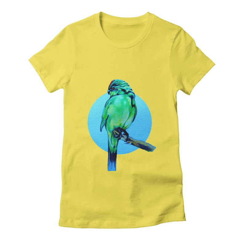 Parakeet - NZ Kakariki Women's Fitted T-Shirt by Patricia Howitt's Artist Shop