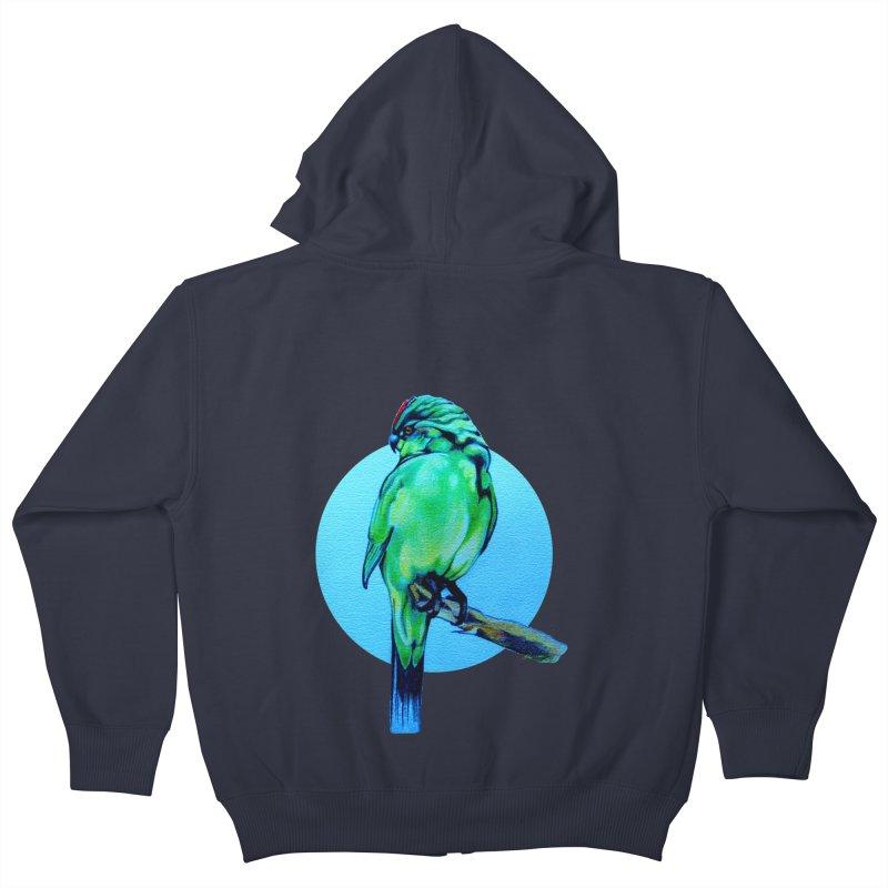 Parakeet - NZ Kakariki Kids Zip-Up Hoody by Patricia Howitt's Artist Shop