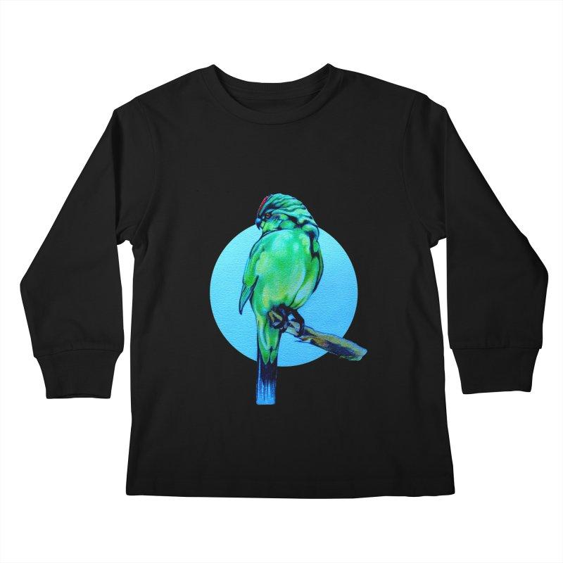 Parakeet - NZ Kakariki Kids Longsleeve T-Shirt by Patricia Howitt's Artist Shop
