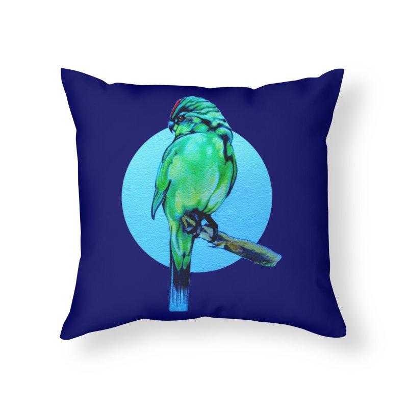 Parakeet - NZ Kakariki Home Throw Pillow by Patricia Howitt's Artist Shop