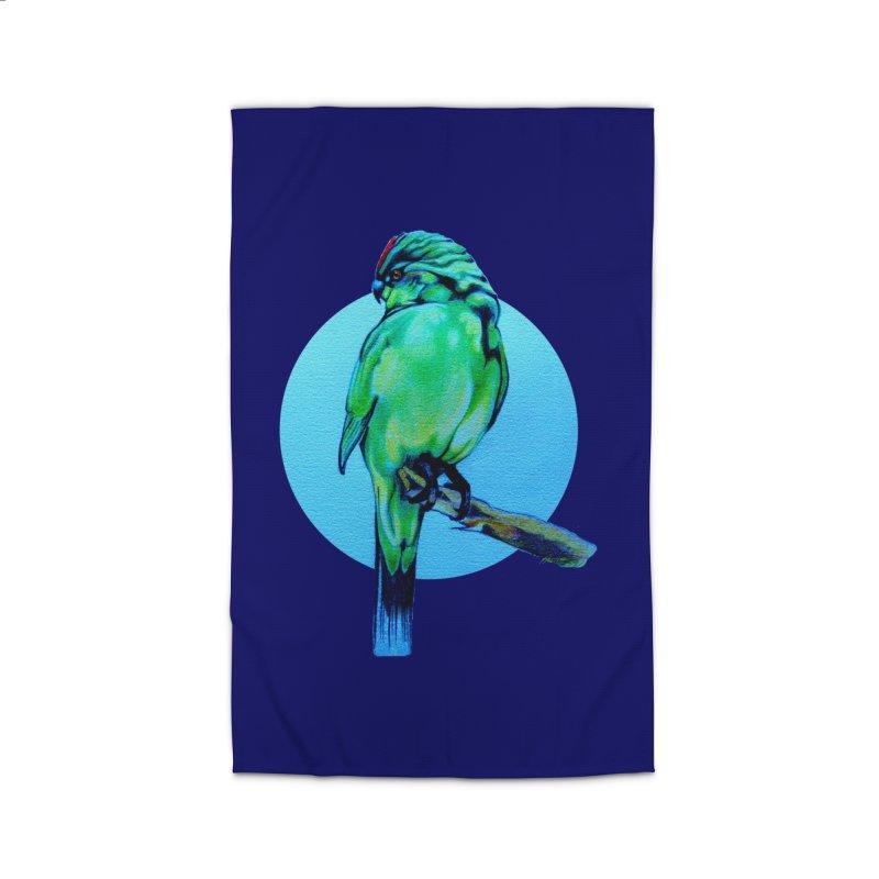 Parakeet - NZ Kakariki Home Rug by Patricia Howitt's Artist Shop