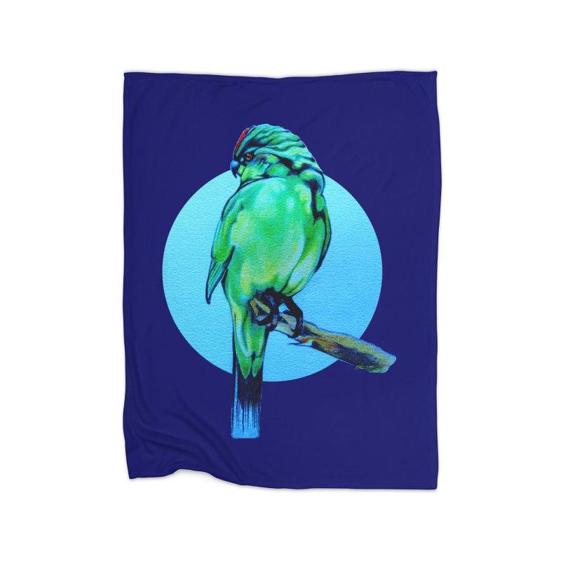 Parakeet - NZ Kakariki Home Fleece Blanket Blanket by Patricia Howitt's Artist Shop