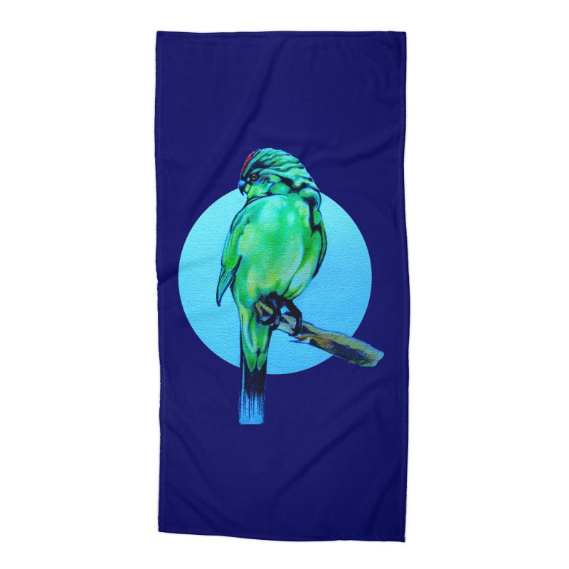 Parakeet - NZ Kakariki Accessories Beach Towel by Patricia Howitt's Artist Shop