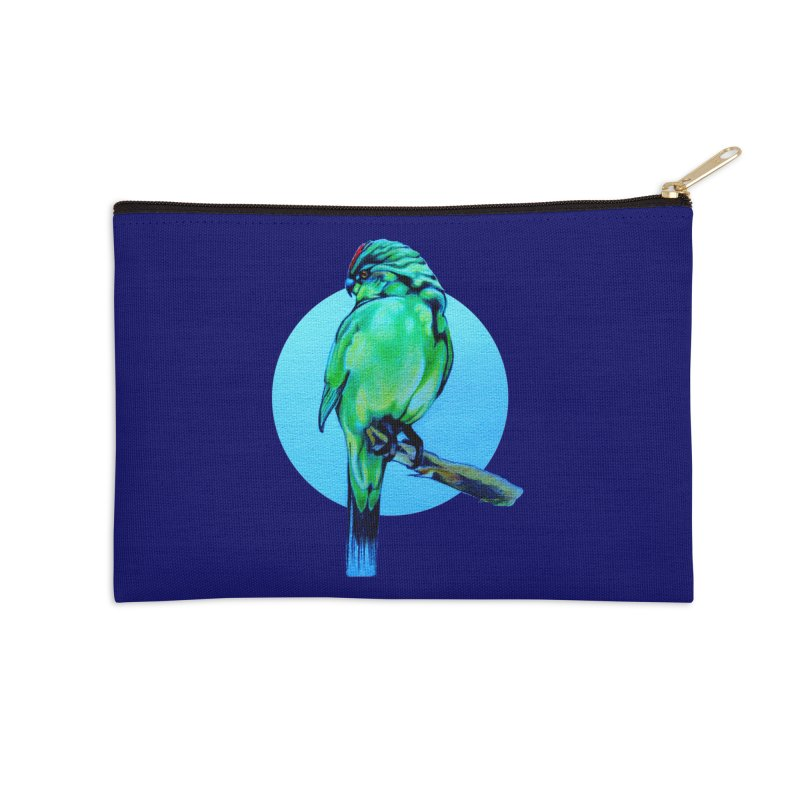Parakeet - NZ Kakariki Accessories Zip Pouch by Patricia Howitt's Artist Shop