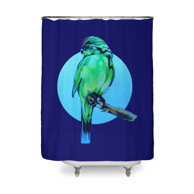 Parakeet - NZ Kakariki Home Shower Curtain by Patricia Howitt's Artist Shop
