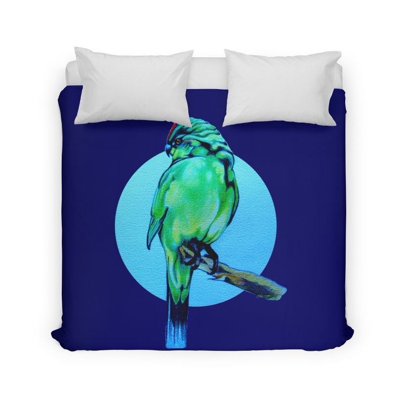 Parakeet - NZ Kakariki Home Duvet by Patricia Howitt's Artist Shop