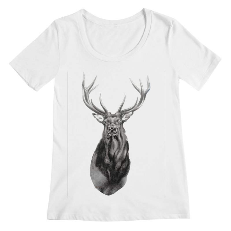 Elk 2 Women's Regular Scoop Neck by Patricia Howitt's Artist Shop