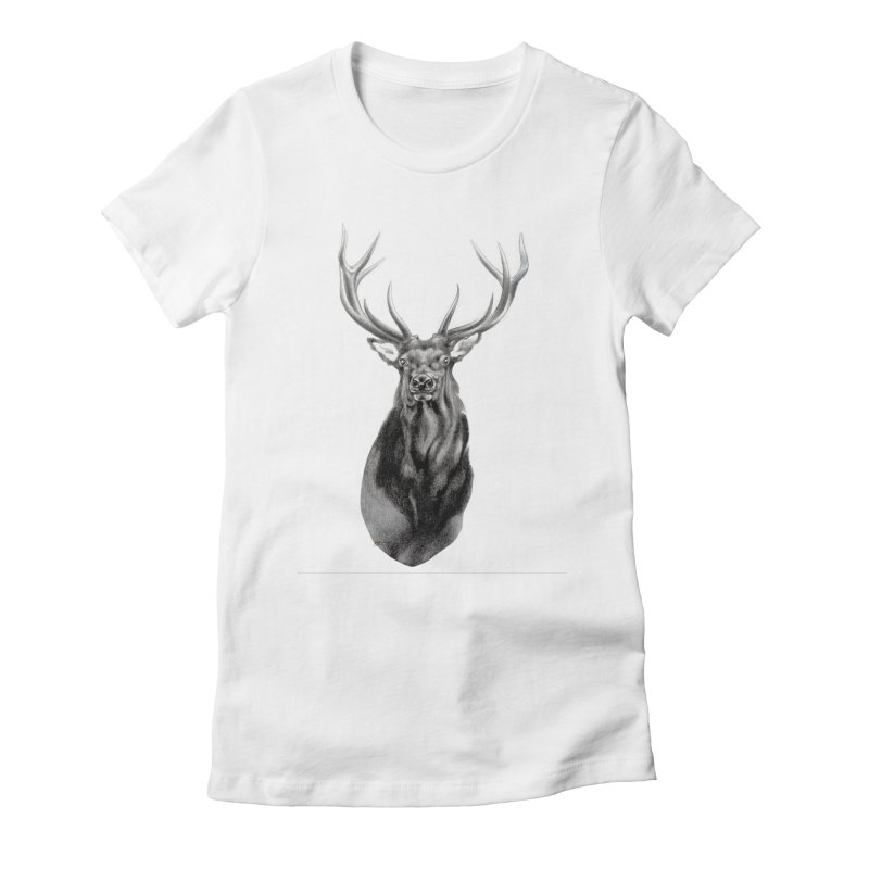 Elk 2 Women's Fitted T-Shirt by Patricia Howitt's Artist Shop