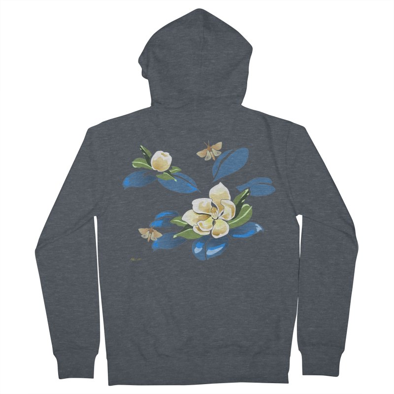 Night Magnolia Men's French Terry Zip-Up Hoody by Patricia Howitt's Artist Shop