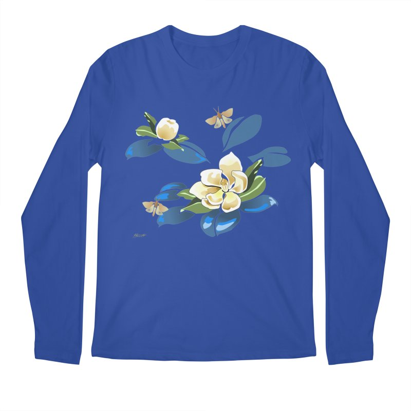 Night Magnolia Men's Longsleeve T-Shirt by Patricia Howitt's Artist Shop