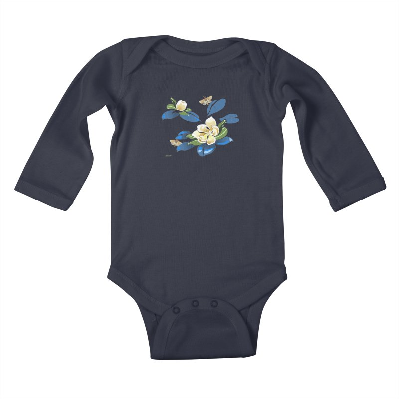 Night Magnolia Kids Baby Longsleeve Bodysuit by Patricia Howitt's Artist Shop