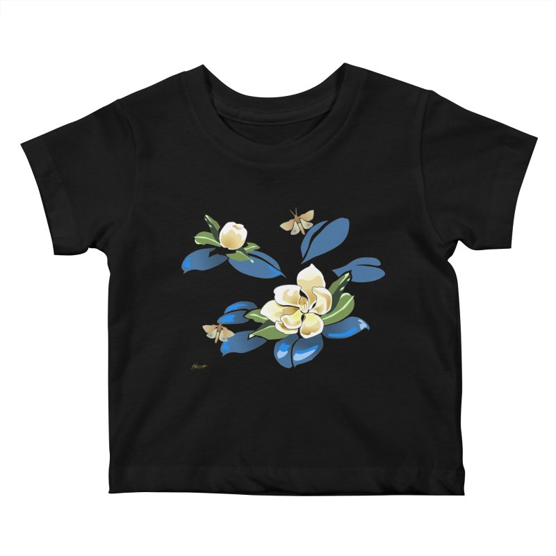Night Magnolia Kids Baby T-Shirt by Patricia Howitt's Artist Shop