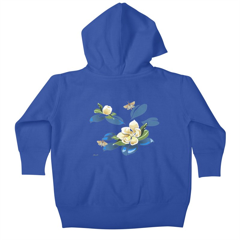 Night Magnolia Kids Baby Zip-Up Hoody by Patricia Howitt's Artist Shop