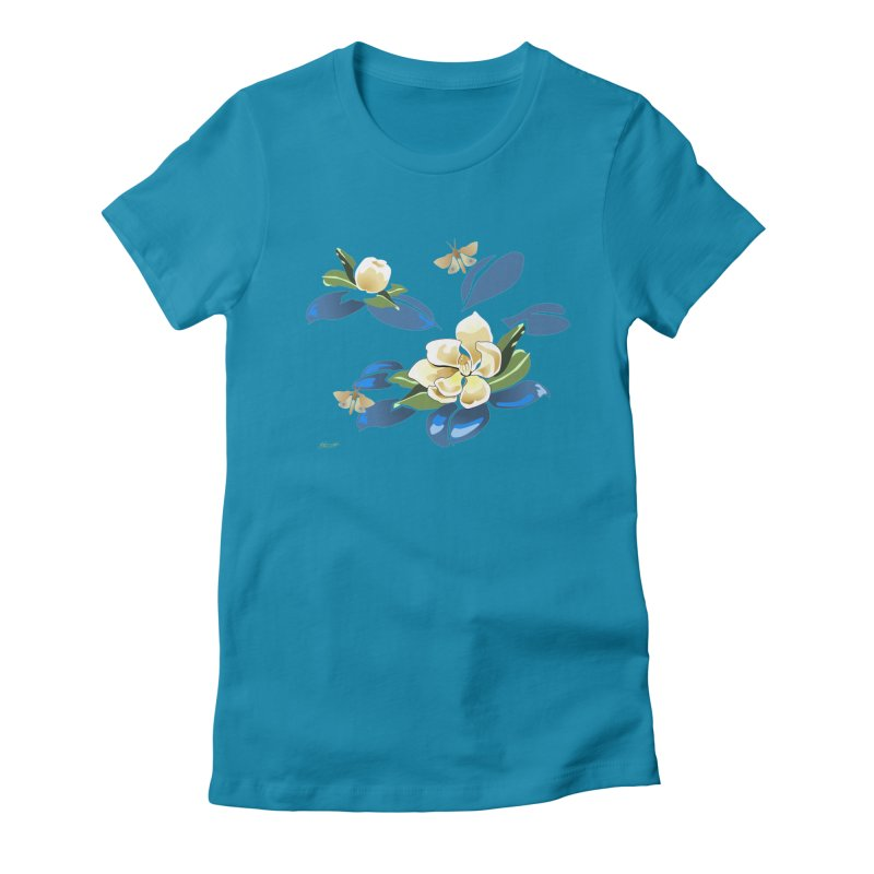 Night Magnolia Women's Fitted T-Shirt by Patricia Howitt's Artist Shop