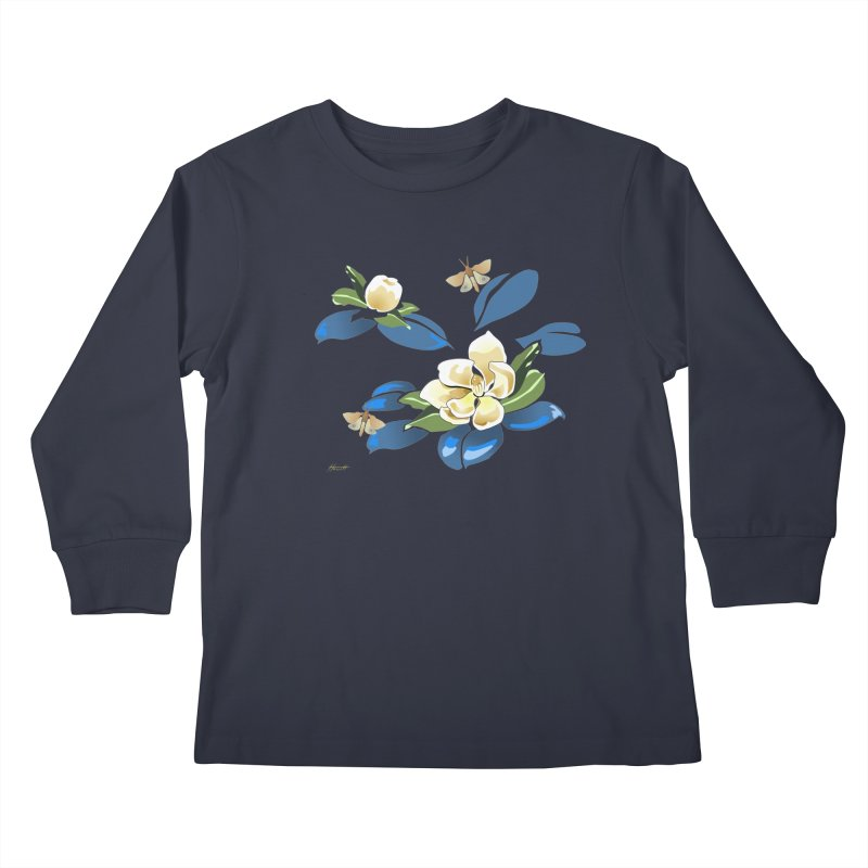 Night Magnolia Kids Longsleeve T-Shirt by Patricia Howitt's Artist Shop