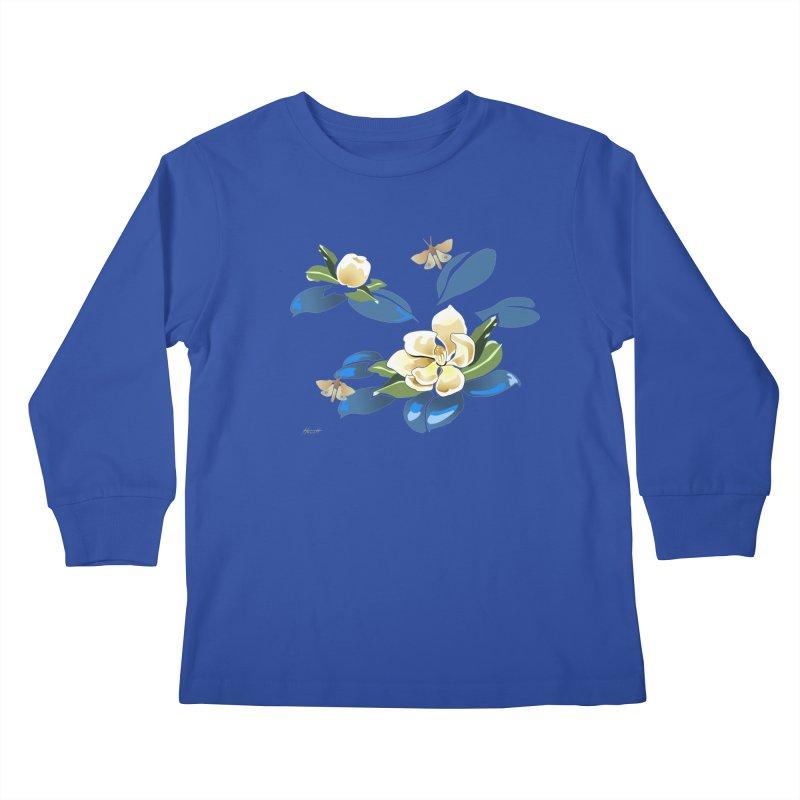 Night Magnolia Kids Longsleeve T-Shirt by Patricia Howitt's Artist Shop