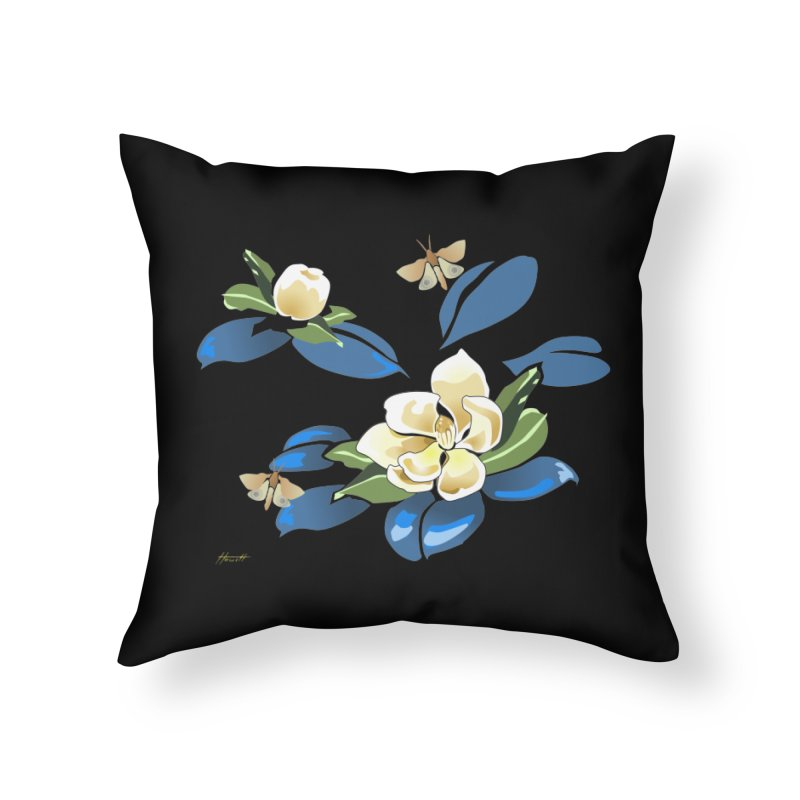 Night Magnolia Home Throw Pillow by Patricia Howitt's Artist Shop