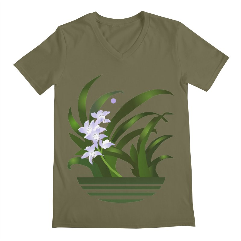 Orchid Moon Men's V-Neck by Patricia Howitt's Artist Shop